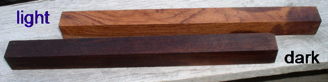 Appearance of light and dark India Ironwood with an oil finish